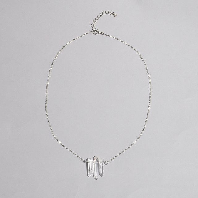 Crystal pendant healing stone raw quartz necklace women jewelry